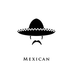 Mexican hat sombrero and mustache vector