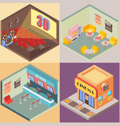 Movie theater building in isometric style design vector
