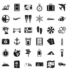 nature travel icons set simple style vector image