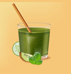 Old fashioned glass with bamboo straw spinach vector