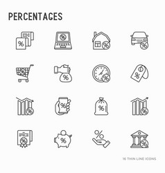 percentages concept with thin line icons set vector image