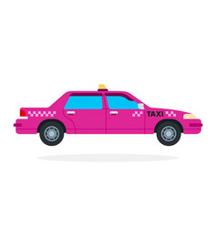 pink urban taxi flat isolated vector image