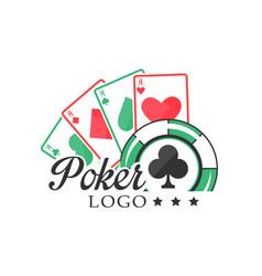 Poker logo vintage emblem with gambling elements vector
