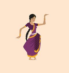 Pretty indian woman dancing wearing sari vector