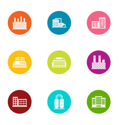 production plant icons set flat style vector image