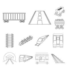 railroad and train icon vector image