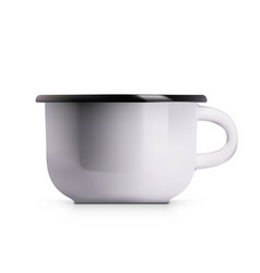 Realistic enamel metal white mug isolated on vector