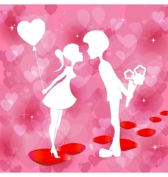 Red background with a silhouette of boy and girl vector