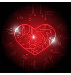 Red circuit heart background vector image