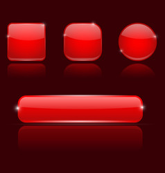 Red glass buttons round square and oval shiny vector