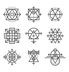 Sacred geometry elements and hipster symbols set vector