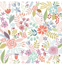 Seamless Floral colorful hand drawn pattern vector