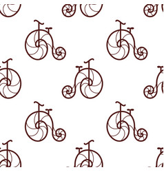Seamless pattern of retro bicycle line art design vector