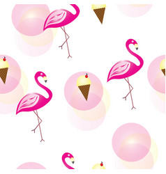 seamless pattern with flamingos and ice cream vector image