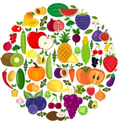 set fruits and vegetables organic food icons vector image