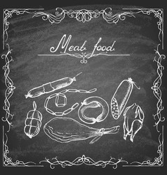 set meat products on a chalkboard vector image