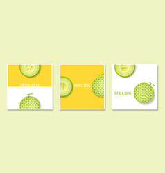 Set of fruit banners with melon in paper art style vector