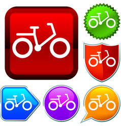 Set shiny icon series on buttons bicycle vector