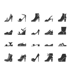Shoes black silhouette icons set vector