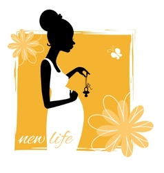 Silhouette of young pregnant woman with pacifier vector image vector image