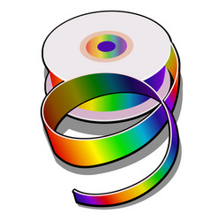 spool of colored ribbon isolated on white vector image