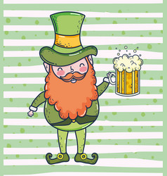 st patrick man with beard and beer glass vector image