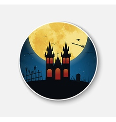 Sticker icon for Halloween night scenery vector image