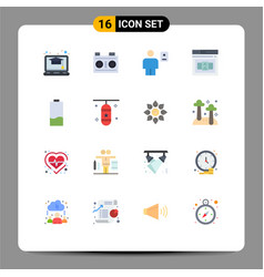 stock icon pack 16 line signs and symbols vector image
