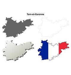 Tarn-et-Garonne Midi-Pyrenees outline map set vector