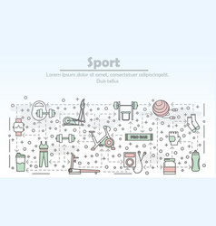 thin line art sport poster banner template vector image