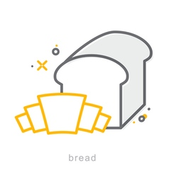 Thin line icons Bread vector