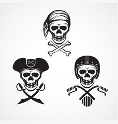 three variations skull and crossbones and skull vector image