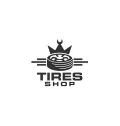 tires shop logo design template silhouette tire vector image