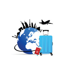 travel symbol with globe and bag vector image