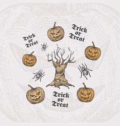 trick or treat halloween background or card vector image