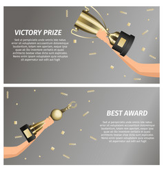 Victory prize and best award web banners vector