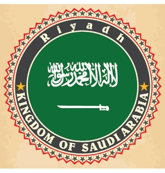 Vintage label cards of Saudi Arabia flag vector image
