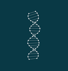 White dna icon in flat style isolated on white vector