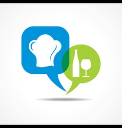 wine galss and chef hat in message bubble vector image