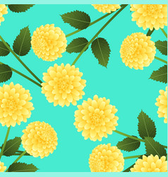yellow dahlia on green mint background vector image
