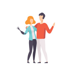 Young woman with artificial arm and her boyfriend vector