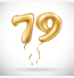 golden number 79 seventy nine metallic balloon vector image vector image