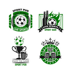 sport pub icon of soccer ball beer and cup vector image