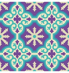 Ceramic floor tile mosaic pattern with decoration vector