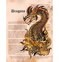 Furious Dragon drawing on old vintage book page vector image vector image