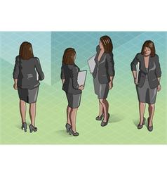 Isometric Woman Secretary Standing vector image vector image