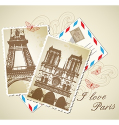 old vintage photos of Paris vector image