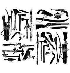 set of ancient weapons vector image vector image