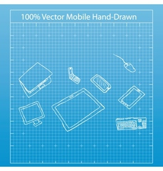 drawing by hand of mobile vector image vector image