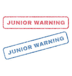 Junior warning textile stamps vector